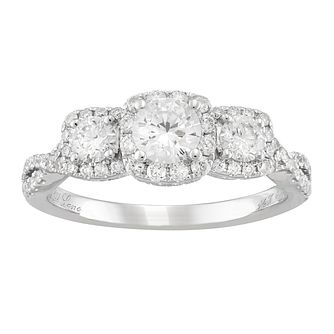 Neil Lane 14ct White gold 1ct Diamond Trilogy Halo Ring - Product number 5519543