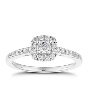 Tolkowsky 18ct White Gold 0.38ct II1 Diamond Halo Ring - Product number 5523664