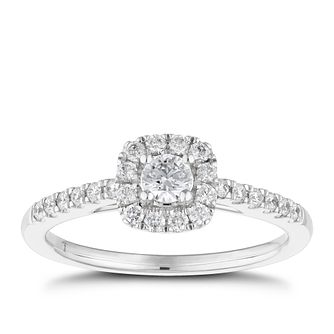 Tolkowsky 18ct White Gold 38pt II1 Diamond Halo Ring - Product number 5523664