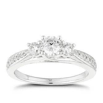 Tolkowsky 18ct White Gold 75pt II1 3 Stone Diamond Ring - Product number 5523796