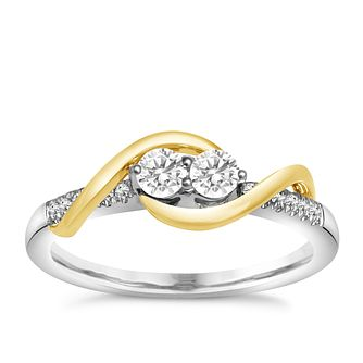 Ever Us 14ct White Gold & 1/4ct 2 Stone Diamond Ring - Product number 5525918