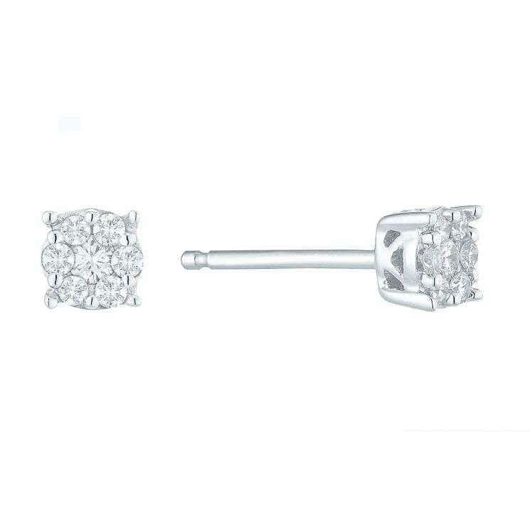 9ct White Gold 0.10 Carat Diamond Cluster Stud Earrings - Product number 5526035