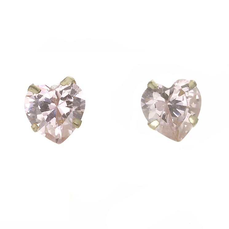 9ct Gold Pink Heart Stud Earrings - Product number 5547482
