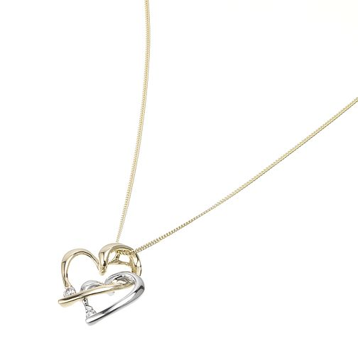 9ct Two-Colour Gold Entwined Hearts Pendant - Product number 5550181