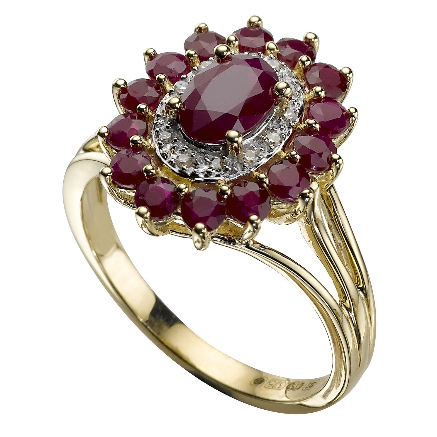 yellow jewellery ring ruby with in tw white gold diamonds
