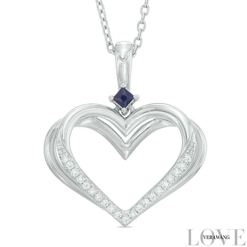 Vera Wang Silver Sapphire Diamond Heart Pendant - Product number 5697026