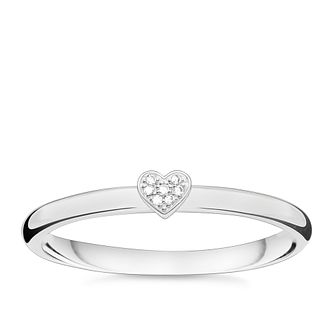 Thomas Sabo Sterling Silver Diamond Heart Ring Size M - Product number 5698243