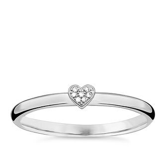 Thomas Sabo Sterling Silver Diamond Heart Ring Size O - Product number 5698251
