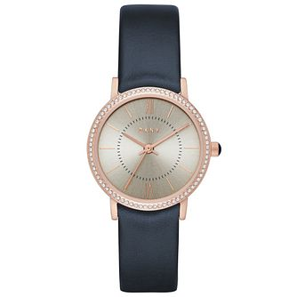 DKNY Ladies' Willoughby Navy Leather Strap Watch - Product number 5707390