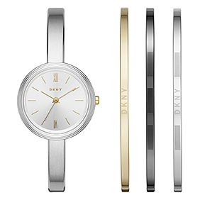 DKNY Ladies' Silver Half Bangle Watch and Bracelet Gift Set - Product number 5707579