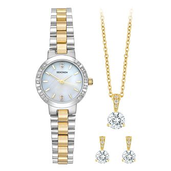 Sekonda Ladies' Two Tone Mother of Pearl Watch Gift Set - Product number 5708001