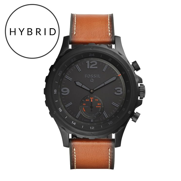 Fossil Q Nate Men's Ion Plated Brown Strap Hybrid Smartwatch - Product number 5712556