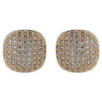 Mikey Gold Tone Fine Crystal Set Square Stud Earrings - Product number 5714583