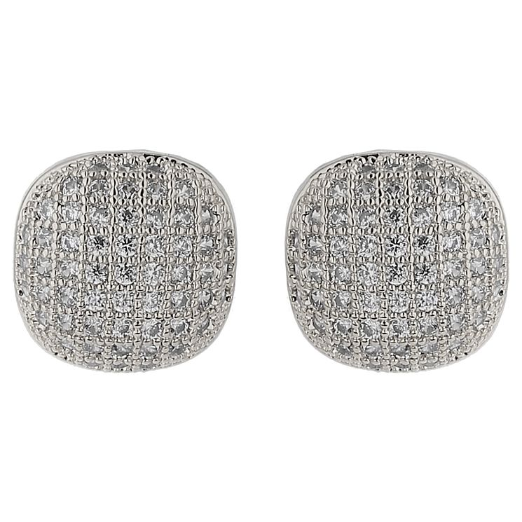 Mikey Silver Tone Fine Crystal Set Square Stud Earrings - Product number 5714591