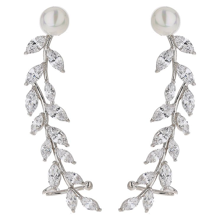 Mikey Silver Tone Pearl Top Crystal Leaf Drop Earrings - Product number 5714656