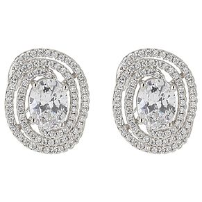Mikey Cubic Zirconia Oval Edged Earrings - Product number 5714850