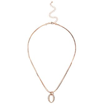 Mikey Rose Gold Tone Crystal Oval Interlink Pendant - Product number 5714885