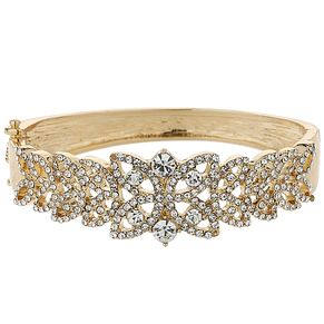 Mikey Gold Tone Filigree Crystal Leaf Bangle - Product number 5715253