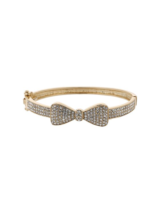 Mikey Gold Tone Fine Crystal Set Bow Design Bangle - Product number 5715288