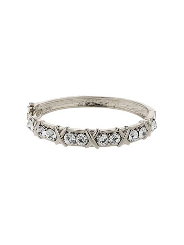 Mikey Silver Tone Crystal Set Cross Design Bangle - Product number 5715326
