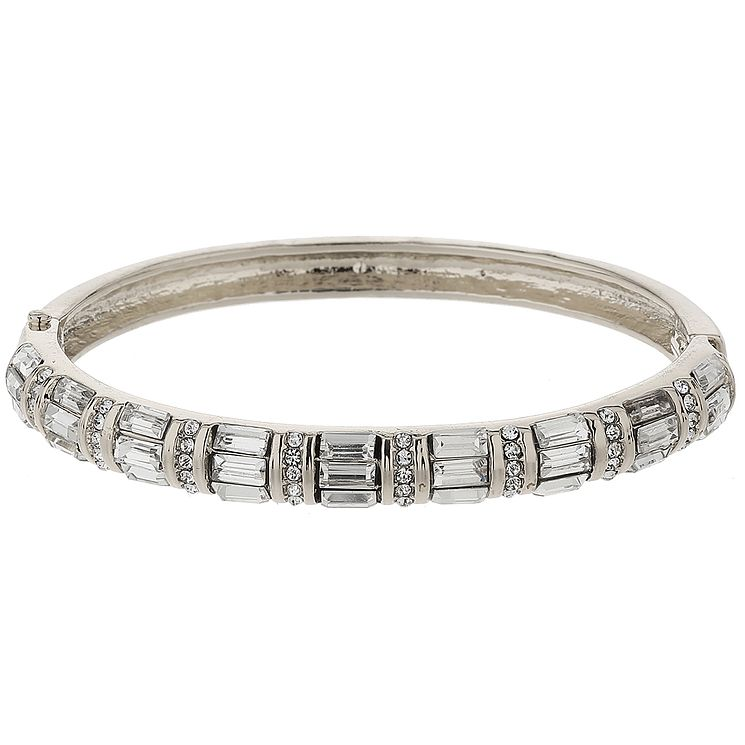 Mikey Silver Tone Baguette Crystal Set Bangle - Product number 5715369