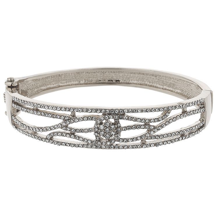 Mikey Silver Tone Crystal Set Filigree Spiral Bangle - Product number 5715431