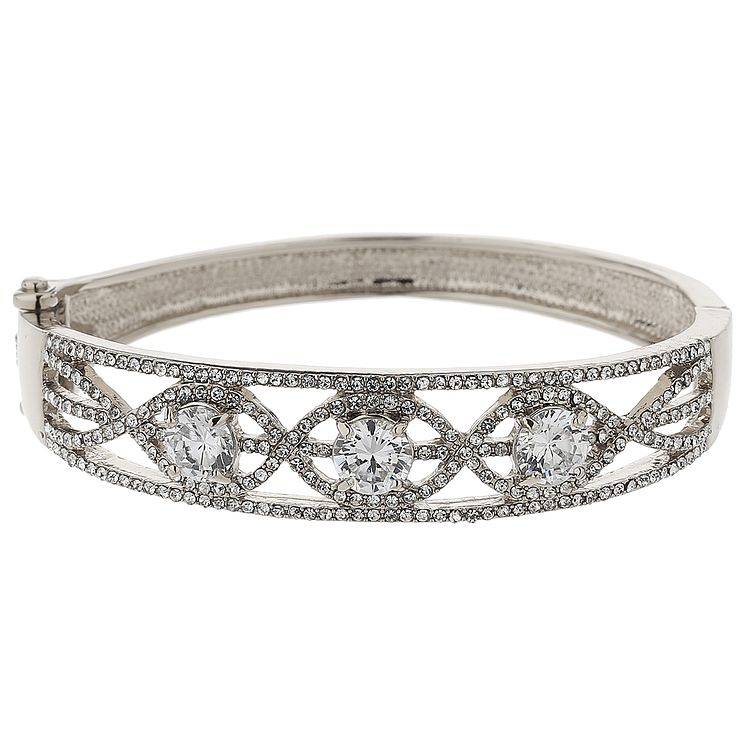 Mikey Silver Tone Crystal Set Twisted Filigree Bangle - Product number 5715474