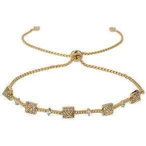 Mikey Gold Tone Crystal Set Pyramid Bracelet - Product number 5715547