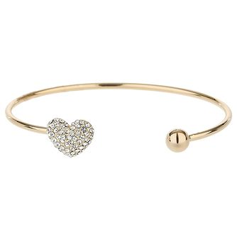 Mikey Gold Tone Crystal Heart and Ball Bangle - Product number 5715695