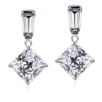 Carat 9ct White Gold Cubic Zirconia Drop Earrings - Product number 5715806
