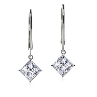 Carat 9ct White Gold Cubic Zirconia Drop Earrings - Product number 5715814