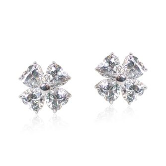 CARAT* LONDON 9ct White Gold Petal Stud Earrings - Product number 5715830