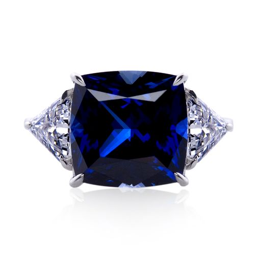 Carat 9ct White Gold Created Sapphire Trilogy Ring Size K - Product number 5715857
