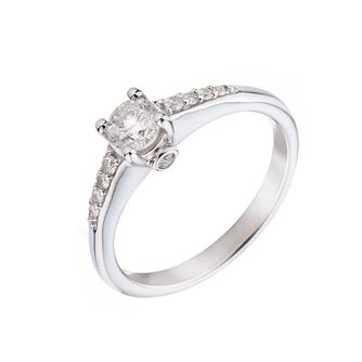 18ct White Gold 1/2 Carat Diamond Solitaire Ring - Product number 5739314