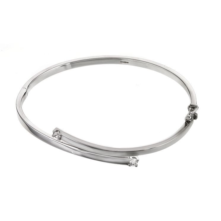 9ct White Gold Cubic Zirconia Bangle - Product number 5761182