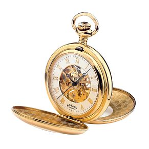 Rotary Men's Gold Plated Skeleton Pocket Watch - Product number 5761794