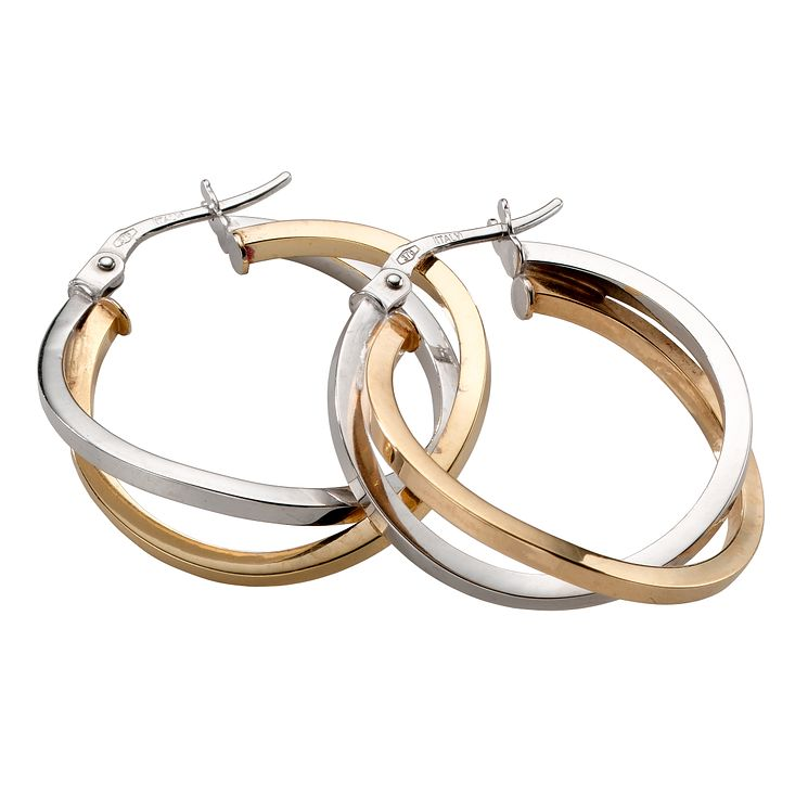 9ct gold two-colour double hoop creole earrings - Product number 5771463