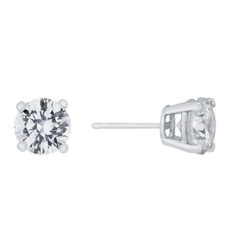 9ct white gold round cubic zirconia 7mm stud earrings - Product number 5776651