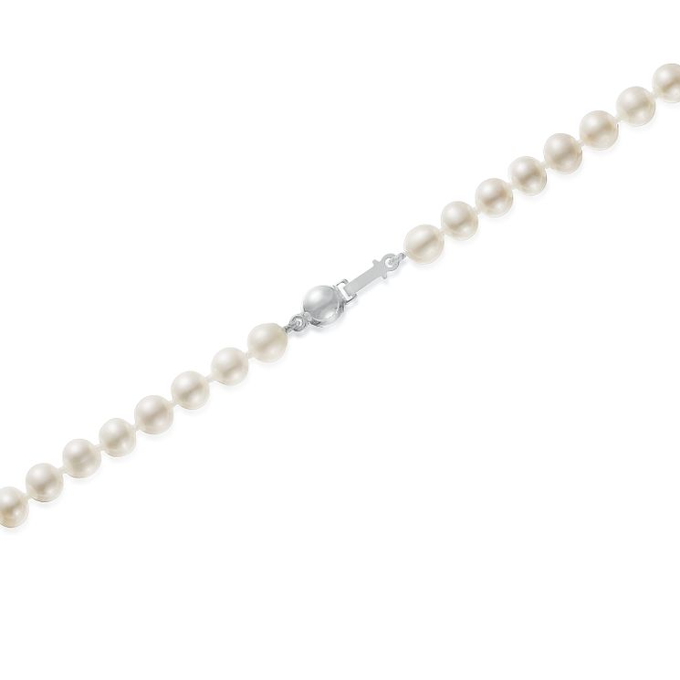 "9ct White Gold 6mm Cultured Freshwater Pearl 17"" Necklace - Product number 5819202"