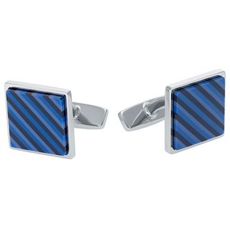 Hugo Boss Neil Men's Stainless Steel Navy Stripes Cufflinks - Product number 5820340