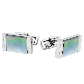 Hugo Boss Harold Men's Stainless Steel Iridescent Cufflinks - Product number 5820359