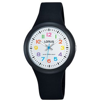 Lorus Children's White Dial Black Silicon Strap Watch - Product number 5820871