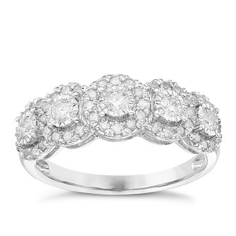 9ct White Gold 1/2 Carat Diamond Halo Eternity Ring - Product number 5828562