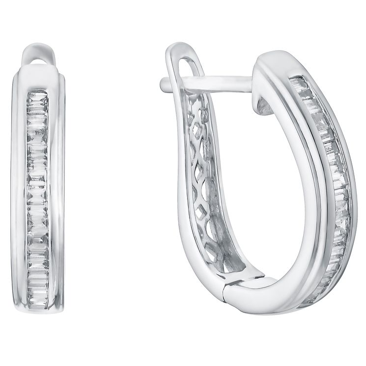 9ct White Gold 0.20ct Channel Set Diamond Hoop Earrings - Product number 5832853