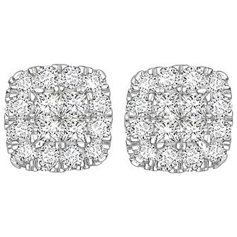 9ct White Gold 0.50ct Diamond Halo Earrings - Product number 5832861