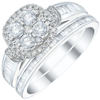 Platinum 1ct Diamond Cluster Bridal Set - Product number 5833736