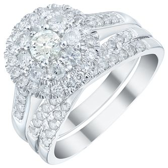 18ct White Gold 1ct Diamond Double Halo Bridal Set - Product number 5833981