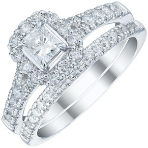 Platinum 1ct Diamond Halo Bridal Set - Product number 5834279