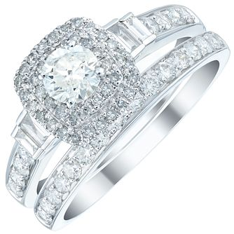 Platinum 1ct Diamond Double Halo Bridal Set - Product number 5834554