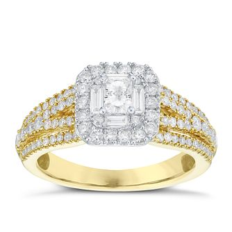 18ct Yellow Gold 1ct Diamond Halo Ring - Product number 5834732